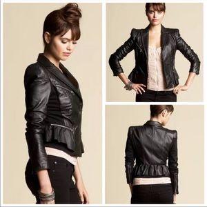 Bebe 100% leather peplum moto jacket